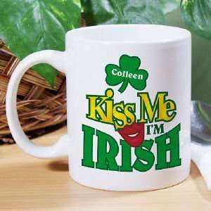 Kiss Me Im Irish Personalized Coffee Mug Kitchen
