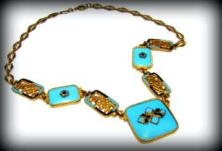 FABULOUS 1920s Art Deco CHINOISERIE Turquoise Glass ENAMEL14k GILT
