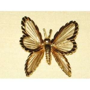 Monet Gold Tone  Butterfly  2 Inch Brooch Pin