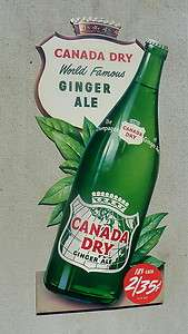CANADA DRY LARGE DIE CUT CARDBOARD SIGN NICE