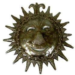 Recycled Steel Drum 8 inch Sun Face Wall Art (Haiti)