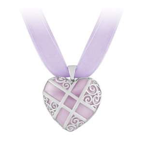 Sterling Silver Pink Resin Heart Pendant Include 3 layer