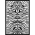 Zebra Animal Print Black/ Off White Rug (53 X 79)