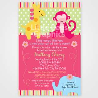 20 Lollipop Jungle Safari Baby Shower Invitations