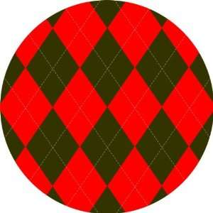 Red Green Argyle Art   Fridge Magnet   Fibreglass reinforced plastic