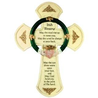 Irish Blessing Cross with Claddagh   Celtic Cross Stone Look Wall