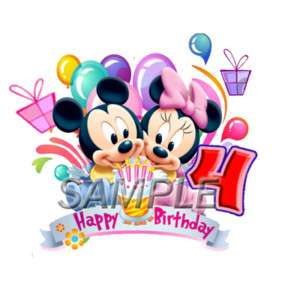 DISNEY BABY MINNIE MOUSE 4TH BIRTHDAY IRON ON TRANSFER