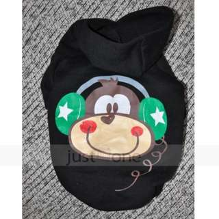 Pet Dog Winter Warm Hooded Jacket Monkey Print Hoodie Coat Apparel