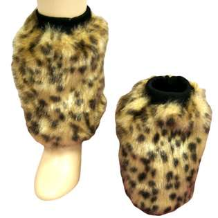 Cheetah Animal Print Faux Fur Leg Warmer Muff Boot Cover (L01448