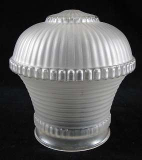 Vintage Frosted Art Deco Glass Ribbed Light Shade