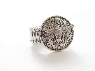 Longhorn Western Cowgirl Circle Stretch Ring Jewelry
