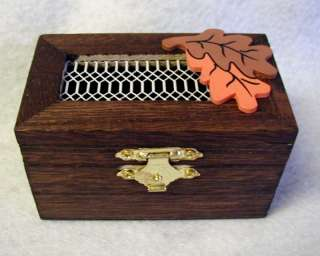Small Wood Trinket Jewelry Box Orange Leaves Excellent