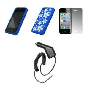 Crystal Clear Screen Protector + Rapid Car Charger for Apple iPhone 4