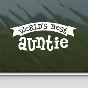 Worlds Best Auntie White Sticker Car Vinyl Window Laptop