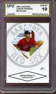 DUSTIN PEDROIA Just Minors MGS 10 Rookie GEM Red Sox .