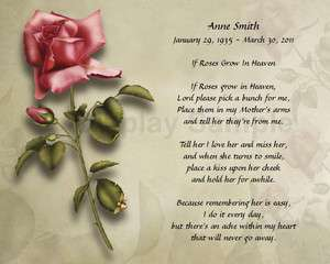 Poem For Loss Of Mother Personalized Memorial