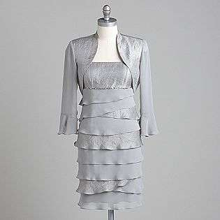 Womens Shimmer Chiffon Bolero Jacket Dress  Clothing Womens Dresses