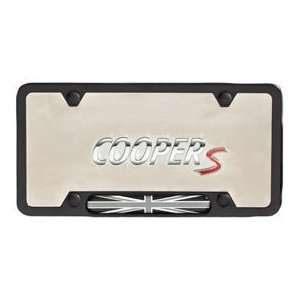 MINI Cooper Black License Plate Frame with Black Jack