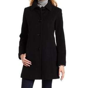 Anne Klein black Wool Blend Winter Coat winter heavy long jacket plus