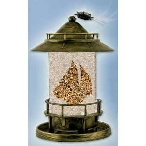 Perky Pet WB Marque Bird Feeder, Worn Brass Finish, Lighthouse Style
