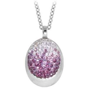 Inox Jewelry Womens Violet Sparkle Ellipse Pendant Necklace Jewelry