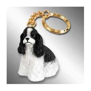 Cocker Spaniel Dog Keychain   Parti Black