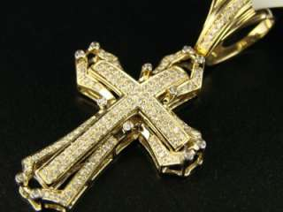 14K MENS YELLOW GOLD PAVE DIAMOND CROSS PENDANT 1.0 CT