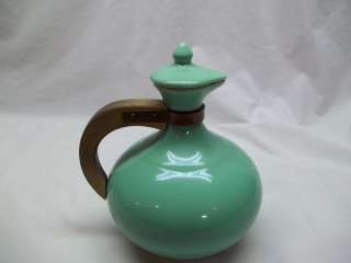 Antique Vintage Retro Kitchen Decor Pottery Carafe Pitcher Baby Blue
