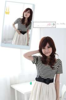 Japanese Fashion Style Stripe Dress One piece White+Black match