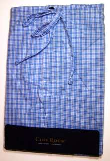 CLUB ROOM Mens Summer Cotton PJ Pants L Blue Plaid NEW