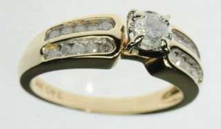 LADIES 14K SOLID YELLOW GOLD DIAMOND ENGAGEMENT ESTATE RING J213059