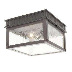 Hampton Bay Flush Mount 2 Light Outdoor Regency Bronze Lantern
