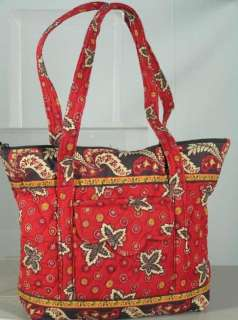 VERA BRADLEY Red Coin VILLAGER TOTE BAG PURSE Retired Rare HTF Free
