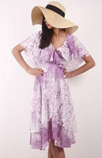 Purple Floral Draped LAYERED Plunging V BOHO party DRESS S