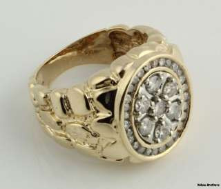Diamond Cluster Nugget Mens Ring   10k White & Yellow Gold Band