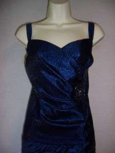JESSICA HOWARD Woman Navy Blue Shutter Pleat Formal Gown dress