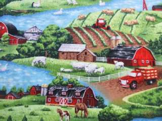 Fabri Quilt Farm Living Country Barn Animals Fabric Yd