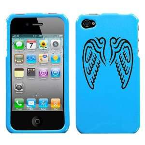 black angel wings design on sky blue turquoise phone case for apple