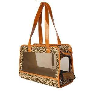 Dog Pet Leopard Print Mesh Carrier W/tan Trim