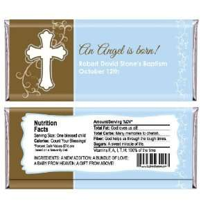 Boy Blue & Brown Cross   Personalized Candy Bar Wrapper Baptism Favors