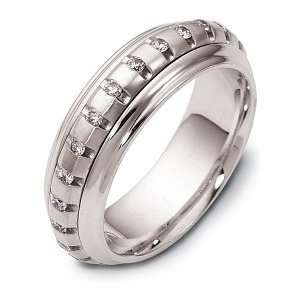 Designer 14 Karat White Gold Unique SPINNING Diamond Eternity Band