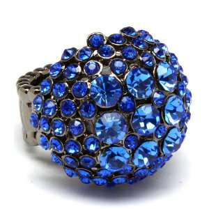 Designer Inspired Crystal Sapphire Blue Dome Stretch Ring Jewelry
