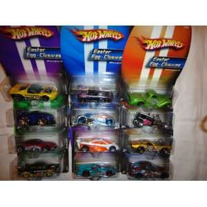 EGG CLUSIVES COMPLETE SET OF 12 DIE CAST, HOT WHEELS EASTER CARS