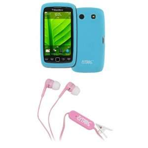 EMPIRE Light Blue Silicone Skin Case Cover + Pink Stereo