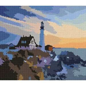 Lighthouse At Dawn Needlepoint Canvas Arts, Crafts