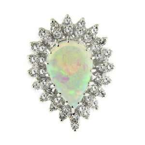 3.27 ct White Gold Opal & Diamond Ring 14 kt Jewelry