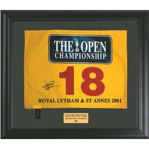Framed Autographed/Hand Signed 2001 British Open 18th Hole Pin Flag
