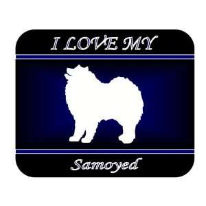 I Love My Samoyed Dog Mouse Pad   Blue Design