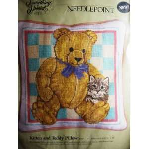 Something Special Kitten & Teddy Bear Needlepoint Pillow