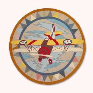 Magical Prop Planes, Round Rug  36 Dia In.